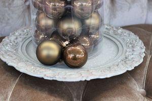 Hnedo zlaté vianočné gule 8cm 15ks