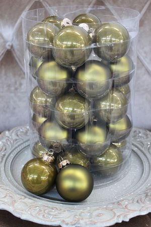Olivové vianočné gule 6cm 30ks
