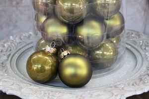 Olivové vianočné gule 8cm 15ks