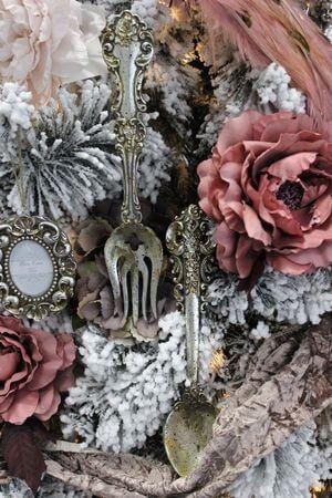 Starostrieborná dekoračná vidlička s patinou