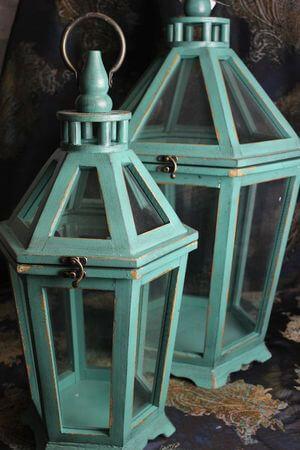 Zelené drevené lampáše 2-set