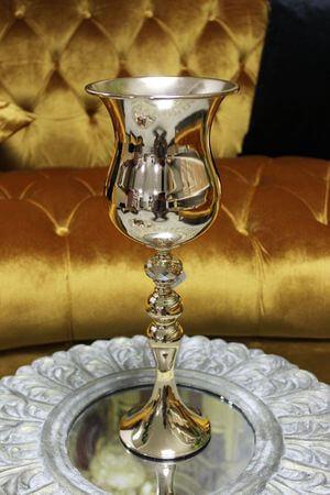 Zlatá luxusná váza s kamienkom 40 cm