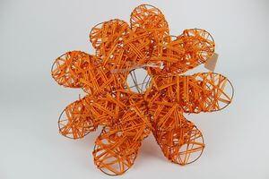 Oranžové ratanové držiaky na kyticu 3 ks