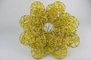 Žlté ratanové držiaky na kyticu 3 ks