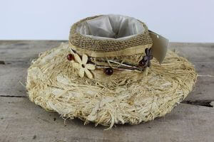 Krémový prírodný klobúk 25cm
