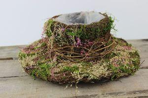 Zeleno ružový prírodný klobúk 29cm