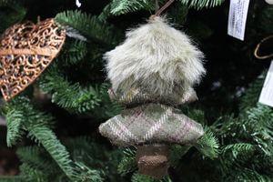 Zeleno hnedý závesný škandinávsky stromček 14cm