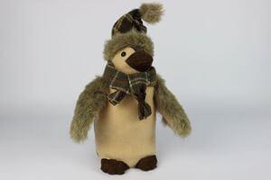 Zeleno hnedý tučniak so škandinávskym šálom 33cm