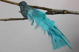 Modrý vtáčik na štipci s dlhým chvostom 25cm