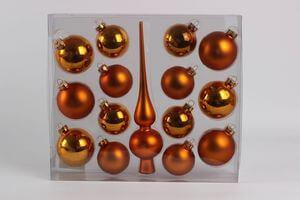 Oranžové vianočné gule so špicom rôzne veľkosti