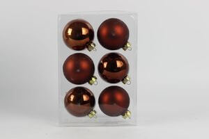 Hnedé matné a lesklé vianočné sklenené gule 6 ks