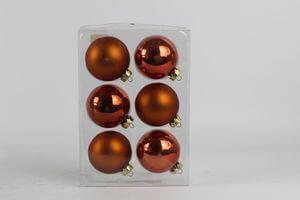Oranžové matné a lesklé sklenené vianočné gule 6ks