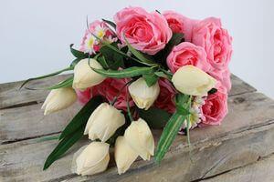 Ružovo krémová umelá kytica kvetov 52cm