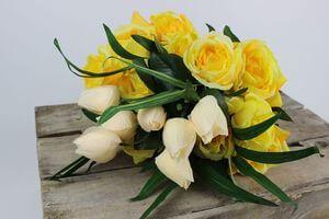 Žlto krémová umelá kytica kvetov 52cm