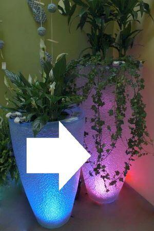 Priehľadný oválny farebný svietiaci kvetináč 120cm