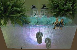 Priehľadný hranatý svietiaci kvetináč 100cm
