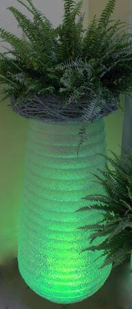 Priehľadný vrúbkovaný svietiaci kvetináč 90cm
