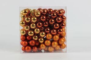 Oranžo medené vianočné sklenené guľky  140 ks