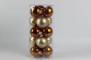 Oranžové a zlaté vianočné gule 8cm 15ks
