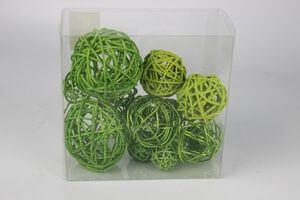 Zelené svetlé prútené dekoračné gule 15 ks