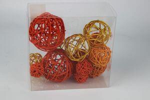 Oranžové prútené dekoračné gule 15 ks