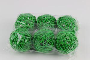 Zelené svetlé prútené dekoračné guľky 7cm