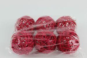 Červené prútené dekoračné guľky 7cm