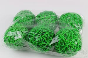 Zelené prútené dekoračné guľky 9cm