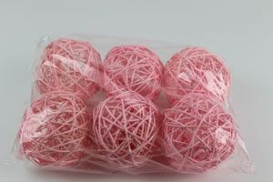 Ružové prútené dekoračné guľky 9cm