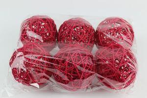 Červené prútené dekoračné guľky 9cm