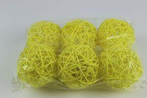 Žlté prútené dekoračné guľky 9cm