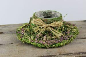 Zeleno fialový prírodný klobúk 26cm
