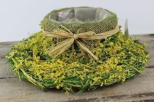 Zeleno žltý prírodný kvetináč v tvare klobúka 29cm