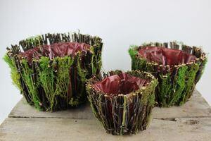 Hnedo zelené okrúhle prírodné kvetináče 3-set