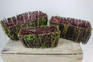 Hnedo zelené hranaté prírodné kvetináče 3-set