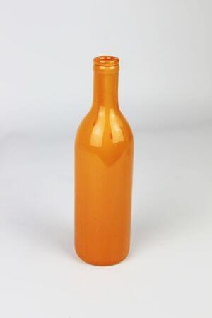 Oranžová keramická váza v tvare fľaše 21cm