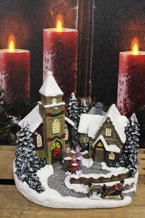 Svietiaca vianočná dedinka s kostolíkom 17cm