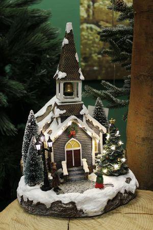 Svietiaci vianočný zasnežený kostolík s melódiou