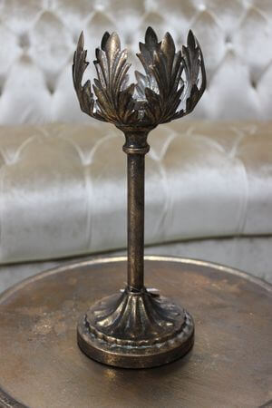 Starozlatý patinovaný lotosový svietnik 30cm