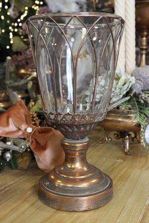 Medený svietnik so skleneným vkladom 32cm