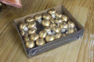 Zlaté hríbiky s bielymi bodkami 36 ks