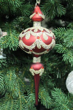 Červený závesný zlatozdobený ornament 23 cm 2ks