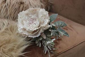 Krémový vianočný kvet pivonky s námrazou 12cm