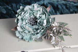 Modrý tiffany vianočný zmrznutý kvet pivonky  11cm