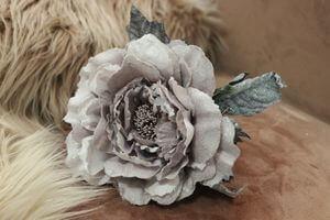 Starofialová sametová ruža s glitrom 14cm