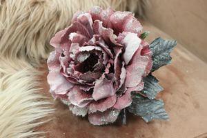 Staroružová sametová ruža s glitrom 14cm