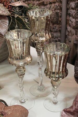 Staroružové sklenené svietniky na stopke 3-set