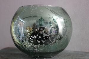 Modrý svetý tiffany sklenený svietnik na stôl 8cm