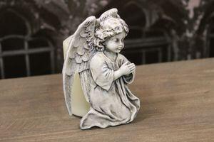 Sivý plochý anjel s úchytom vzadu 7cm