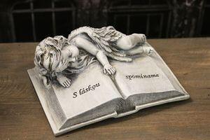 Sivá kniha s ležiacim anjelom 16cm